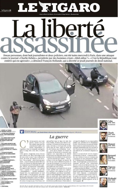 front page of le Figaro on the Charlie Hebdo attack