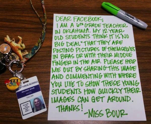 učiteljica oklahoma pismo